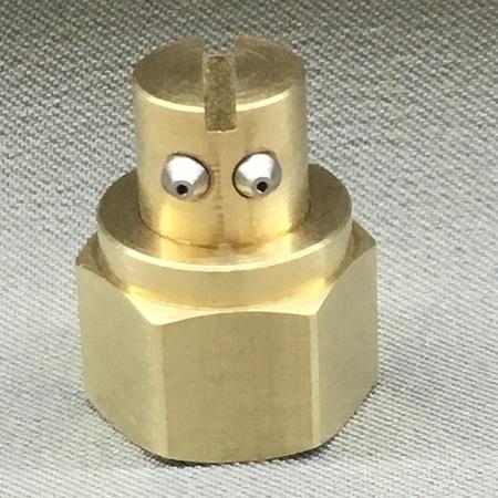 2 Orifice Nozzle, Right Angle, 15 Degree Spread, .012 Diameter